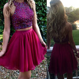 Short wine red two pieces beaded halter lovely freshman charming homecoming prom dress,BD0042