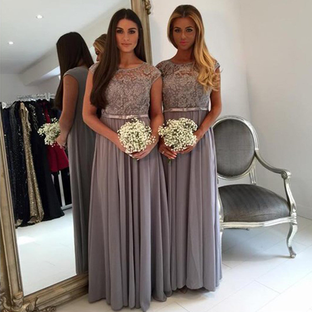 Modest Cap Sleeve Lace A Line Grey Floor-Length Chiffon Wedding Guest Dresses For Maid of Honor, WG44