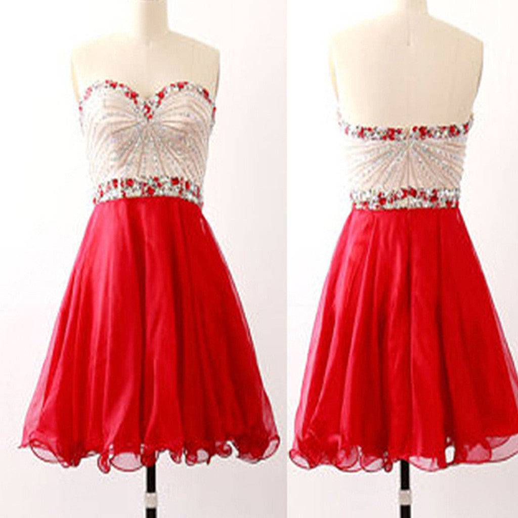 Red Strapless sparkly unique vintage chiffon unique homecoming prom dress,BD0044
