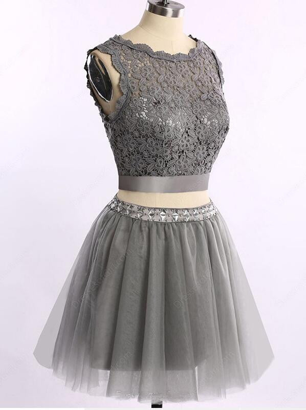 Two pieces grey lace tulle homecoming prom dresses, CM0003