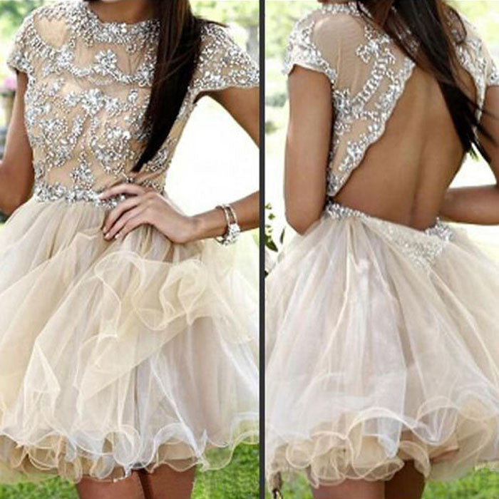 Short Sleeve Sparkly Open Back Sexy Homecoming Prom Gown Dress, BD0047