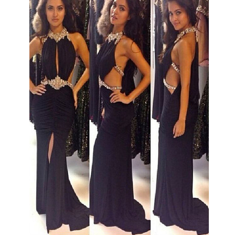 New Black Hater Rhinestones Sparkly Sexy Open Back Evening Prom Gown Dresses. PD0290