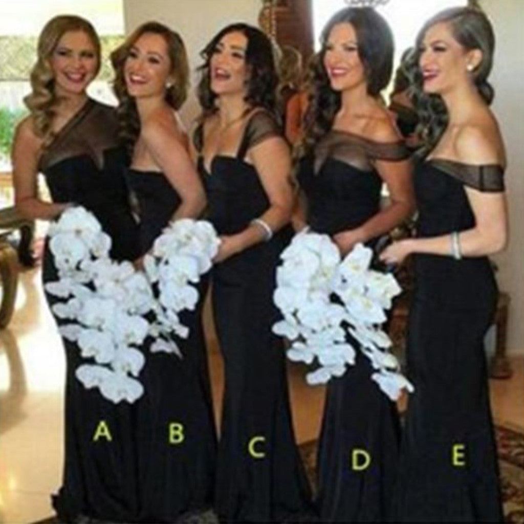 Mismatched Different Styles Off Shoulder Cheap Sexy Black Long Mermaid Bridesmaid Dresses, WG54