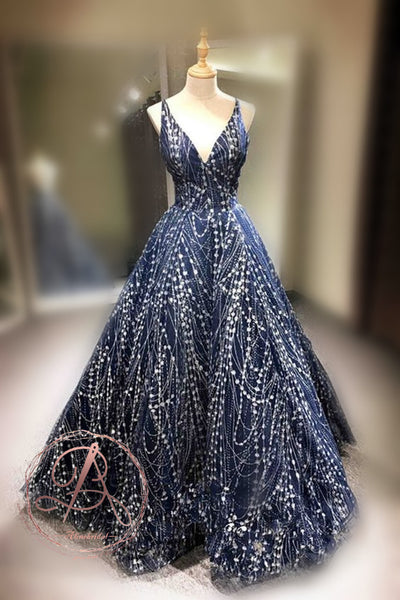Charming Fashion Navy Spaghetti Strap V-neck Criss-Cross Backless Prom Gown Dresses,PD00056