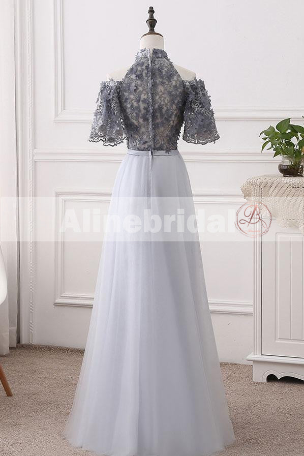 Elegant Halter Short Sleeve Grey Handmade Flower Top A-line  Prom Dresses,PD00073