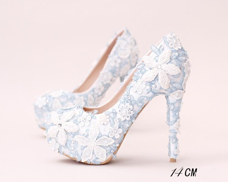 Captivating Handmade High Heels Round Toe Blue Lace Crystal Wedding Shoes, S0040