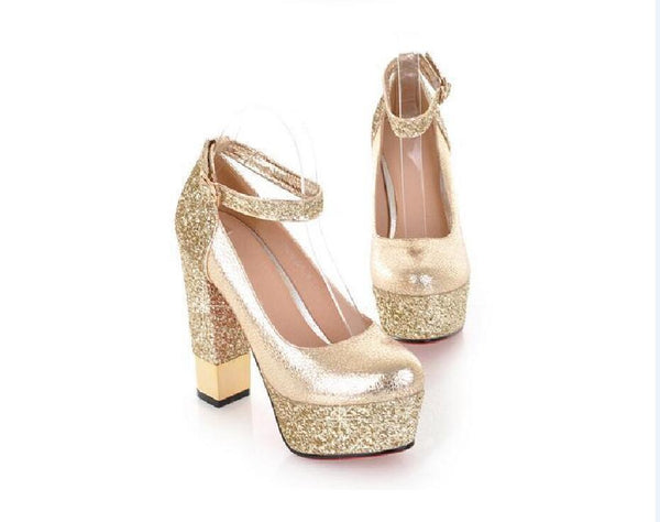 Fashion High Heels Round Pointed Toe Sequin Wedding Bridal Shoes, S035