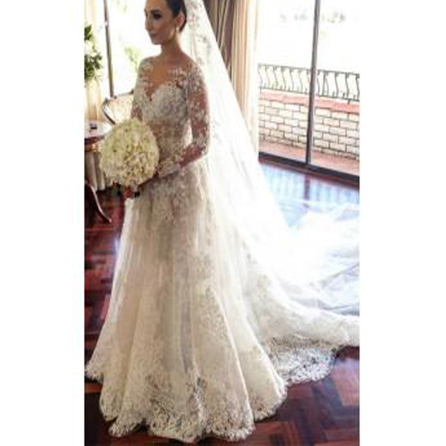 Classic Lace A-Line Wedding Dress Long Sleeve with Flowers Custom Made Wedding Gowns, WD0116