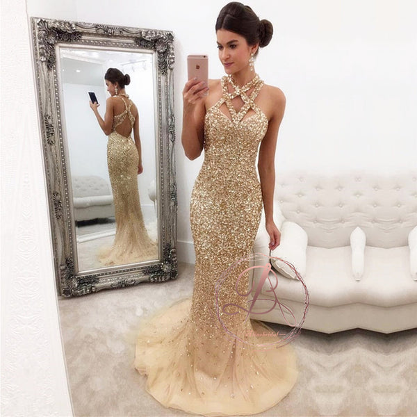 Sparkly Gold Sequins Rhinestone Unique Halter Mermaid Open Back Prom ...