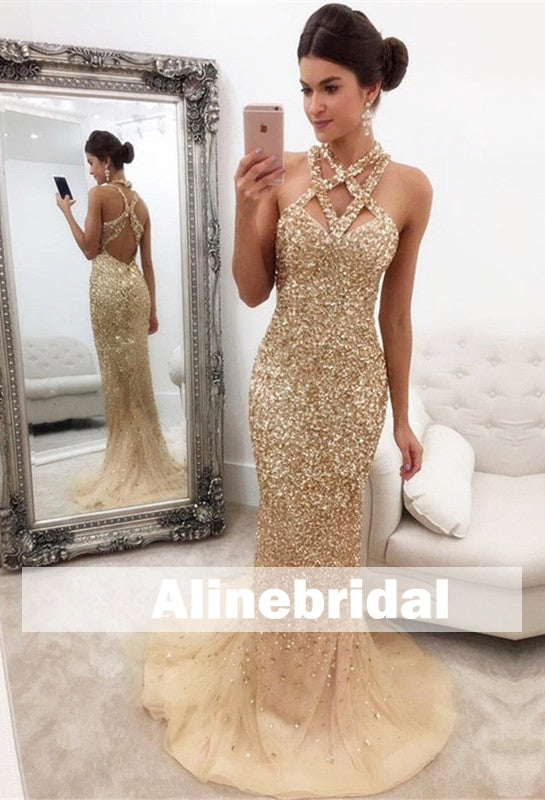 Sparkly Gold Sequins Rhinestone Unique Halter Mermaid Open Back Prom Gown Dresses,PD00058