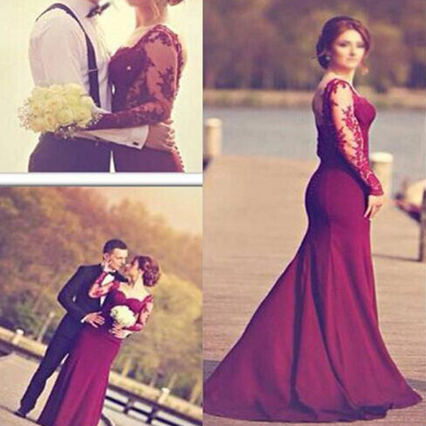 Burgundy Jersey Long Sleeve Lace Mermaid Wedding Dresses, WD0060