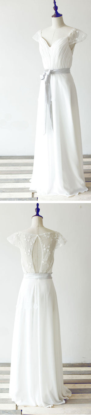 Simple Long A-line White Chiffon Wedding Party Dresses, Cap Sleeve Lace Bridal Gown, WD0062