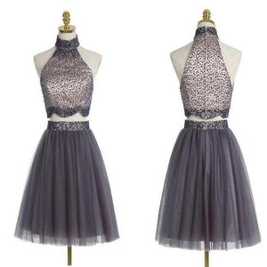 Popular grey halter two pieces beaded vintage unique style homecoming prom gowns dress,BD0062