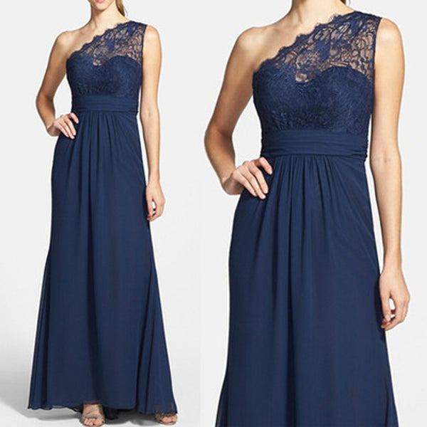 Elegant Navy Blue One Shoulder Lace Chiffon A Line Floor-Length Cheap Bridesmaid Dresses, WG64