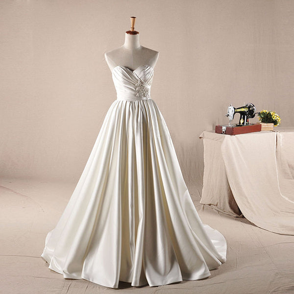 Vintage Ivory Sweetheart Long A-line Simple Design Wedding Party Dresses, WD0064