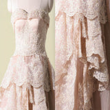 Vintage Pink Lace Sweetheart Classic Style Long A-line Wedding Party Dresses, WD0066
