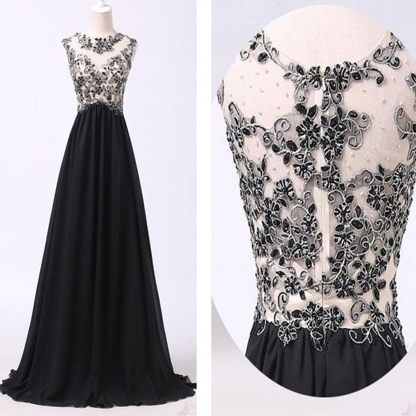 2017 Black Appliques A-line Vintage Unique Formal Modest Long Party Prom Dress. AB1131