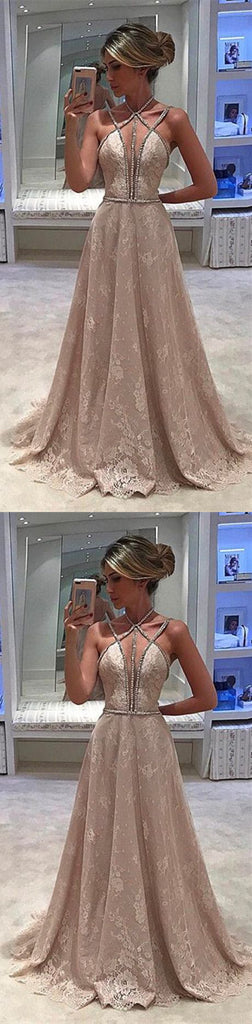 Unique Charming Sexy Beading Spaghetti Strap Halter Full Lace Evening Party Prom Gown Dresses,PD00013