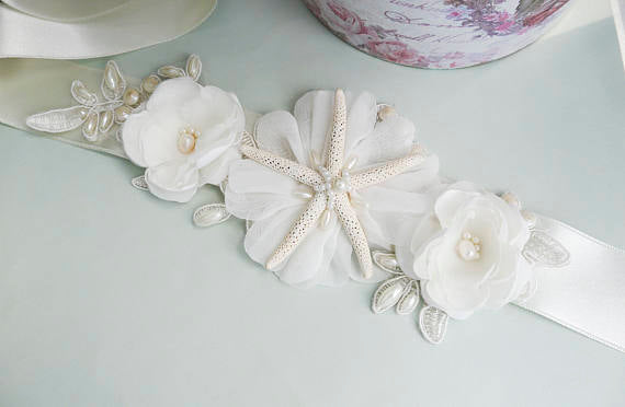 Ocean style Sash, Unique Beach Conch Handmade Flowers Girl Sash,Different color Bridesmaids Sash,Elegant Satin Sash, SA0006
