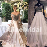 Popular Off Shoulder Sparkly Beaded Satin Ball Gown Prom Dresses,PD00061