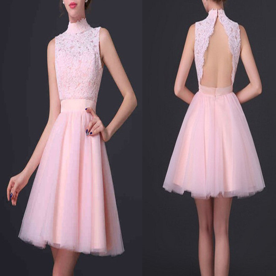 Popular pink high neck open back elegant cute for teens homecoming ...