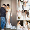 Long Sleeve Lace Unique Mermaid With Slip Side Wedding Bridal Gown Dresses. WD0208