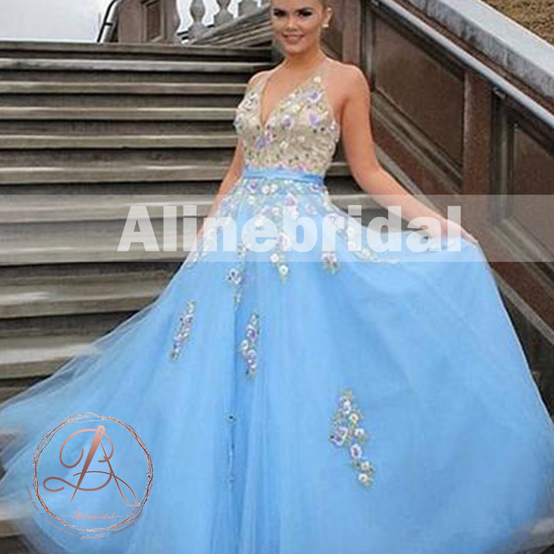 Fashion Tiffany Blue colorful Handmade Flower Appliques Prom Dresses ...