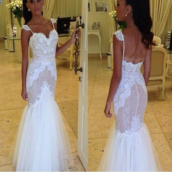 Vintage Cap Sleeve Mermaid Lace Open Back Wedding Dresses. PD0512