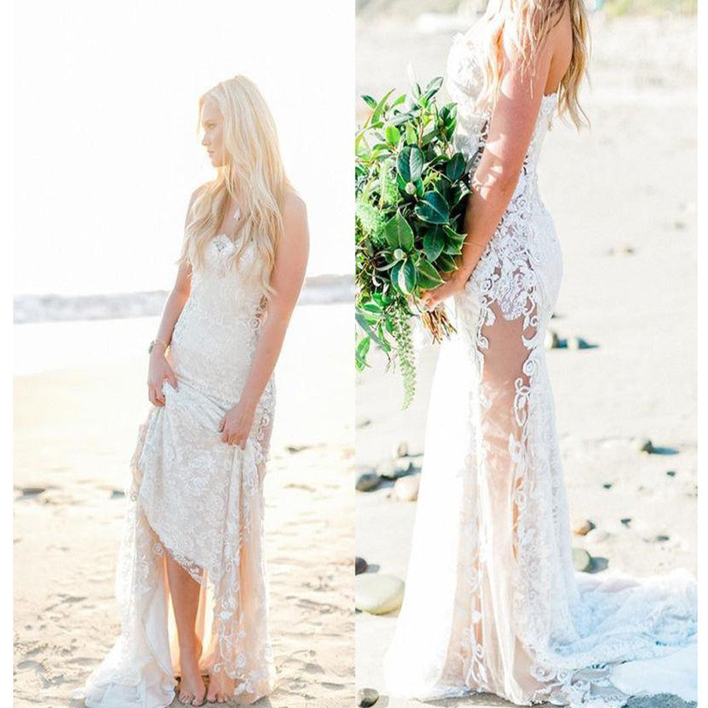 2017 Lace Beach Strapless Unique See Through Country Wedding Party Dre €� Alinebridal: See Through Country Wedding Dresses At Reisefeber.org