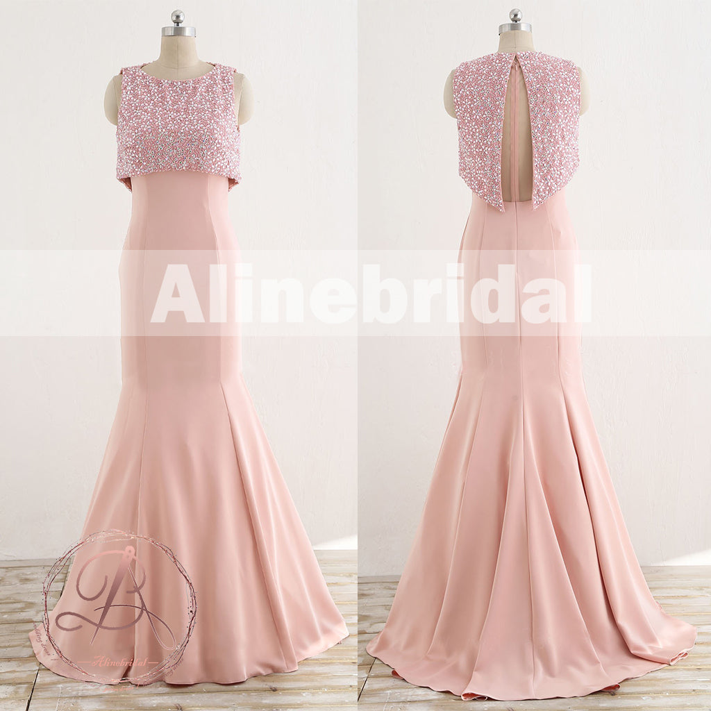 Unique Two Piece Pink Beading Top See Through Tull Back Mermaid Prom Dresses,PD00065