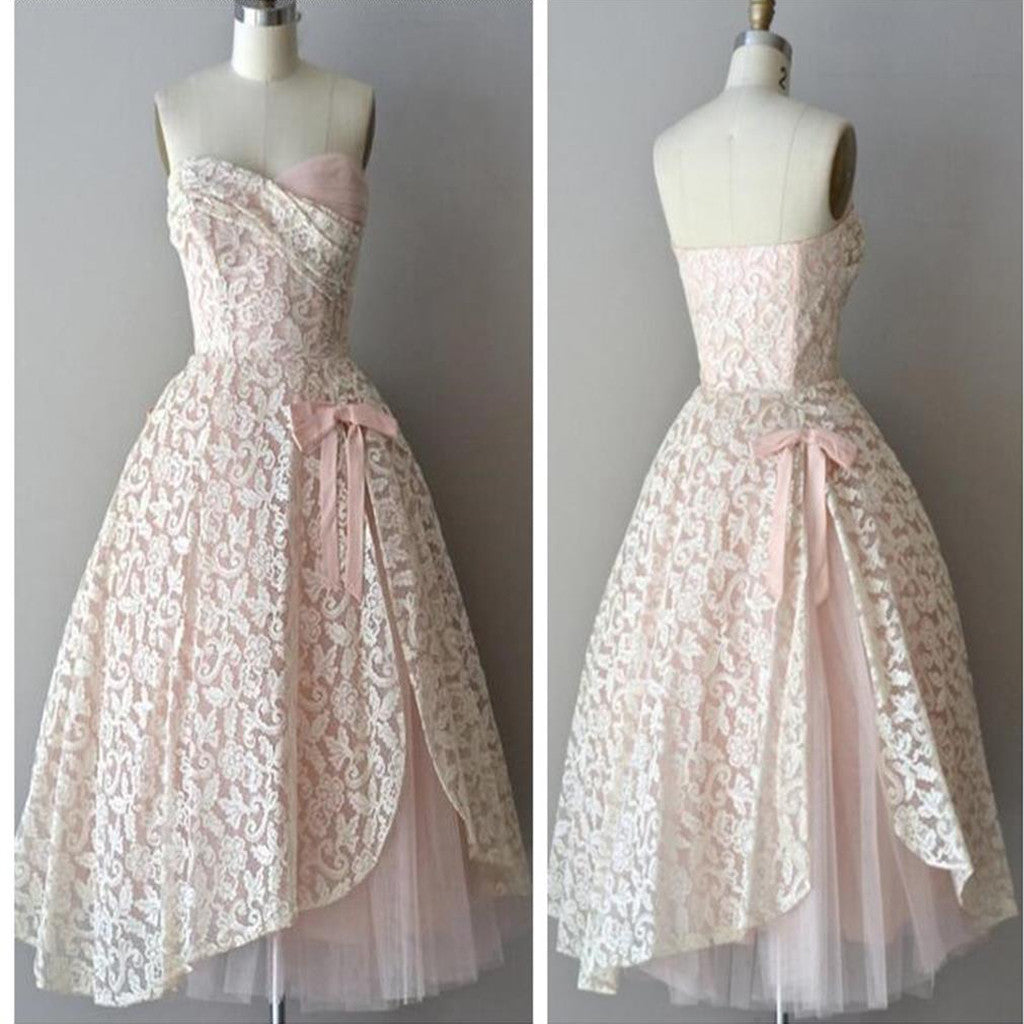 Strapless pink lace unique style vintage cheap homecoming prom gowns dress,BD0075