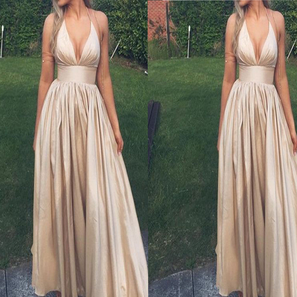 Deep V-Neck Sexy Ball Gown Evening Simple Formal Junior Long ...