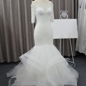 Vintage Off Shoulder Half Sleeve Lace Sexy Mermaid Wedding Party Dresses, WD0075