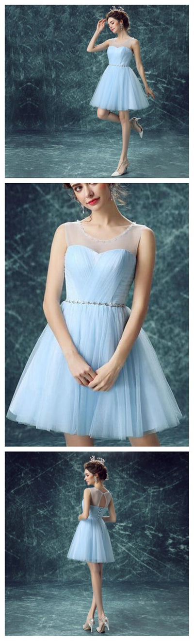 Light Blue Tulle Cute homecoming prom dresses, CM0017