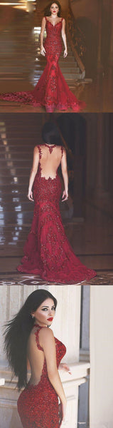Red Mermaid Backless Sexy Party Elegant Evening Cocktail Prom Dress,PD0077