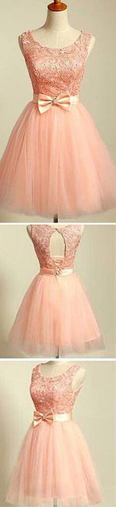 peach pink lace lovely for teens modest formal homecoming dress,BD0080