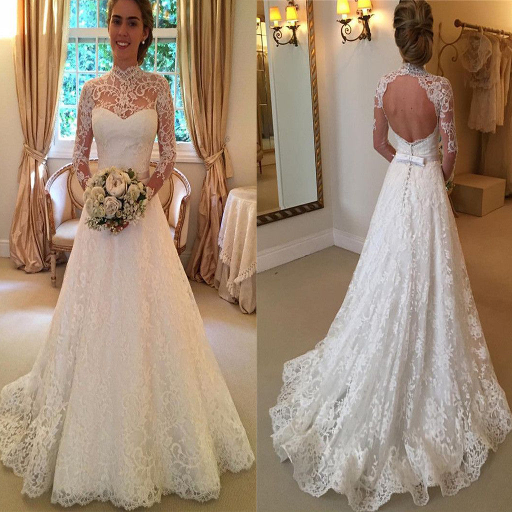 High Neck Open Back Lace Princess Simple Modest Wedding Dress. AB0306