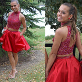 Popular blush red two pieces beaded unique tight homecoming prom gown dress,BD0083