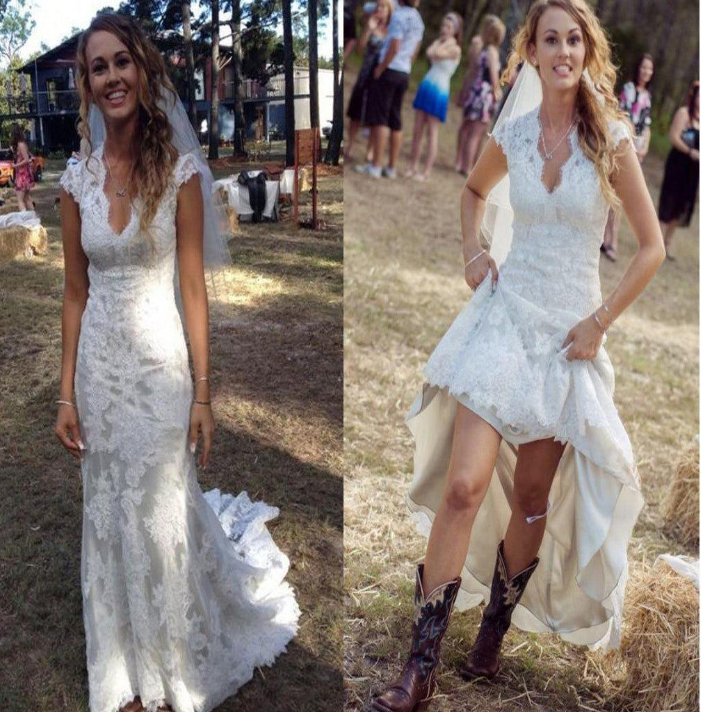 Newest Lace Cap Sleeve Country Simple Beach Bridal Wedding Dress ...