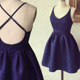 Short cheap simple blue cross freshman homecoming prom gown dress,BD0084