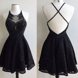 2018 Black Lace Open Back Beaded Sexy Party homecoming prom dresses, CM0013