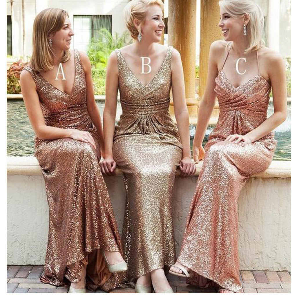 New Sequined Floor Length V-Neck Sexy Long Bridesmaid Dresses, AB090