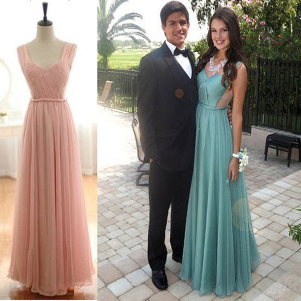 Simple A-line Different Color Open Back Evening Party Prom Dress. AB1150