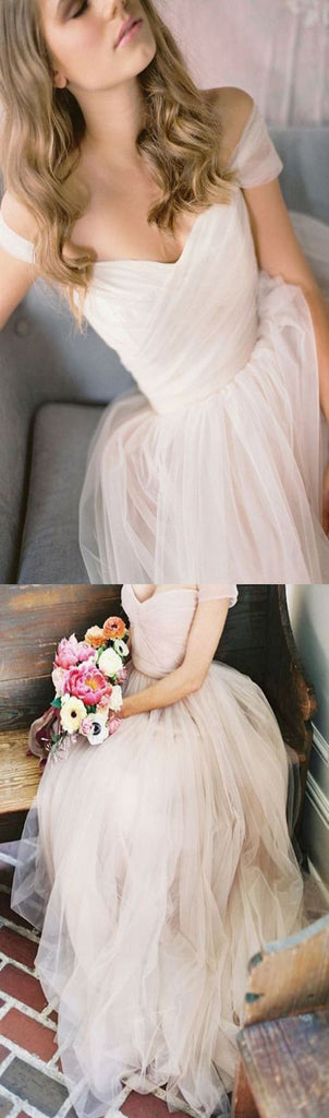 Simple Off Shoulder A-line Vintage Beach Modest Wedding Dress. AB1079