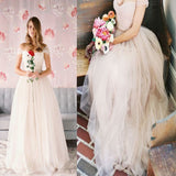 2017 Simple Off Shoulder A-line Vintage Beach Modest Wedding Dress. AB1079