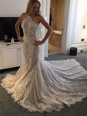 Elegant Sheath Hater Mermaid Charming Lace Gorgeous Wedding Party Dresses, WD0096