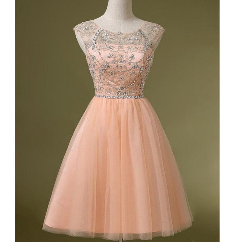 Peach Tulle Beaded Short Cute homecoming prom dresses, CM0031 ...