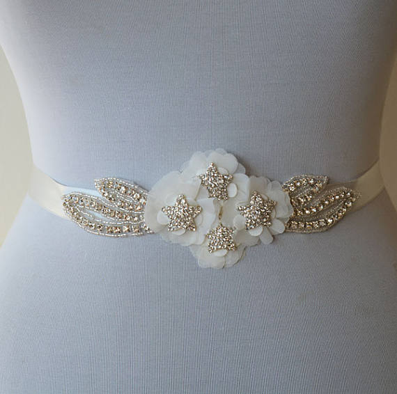 Beading Bridal Belt, Handmade Flowers Wedding Belt, Wedding Sash,Sparkly Star Belt, SA0019