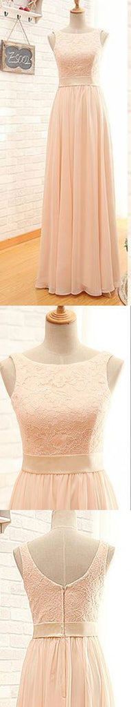 Modest Lace Top Sleeveless Blush Pink Zipper Back Maxi Bridesmaid Dresses, WG15