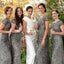 Popular Cheap Cap Sleeve Silver Sequin Sexy Mermaid Small Round Neck Long Bridesmaid Dresses, WG90